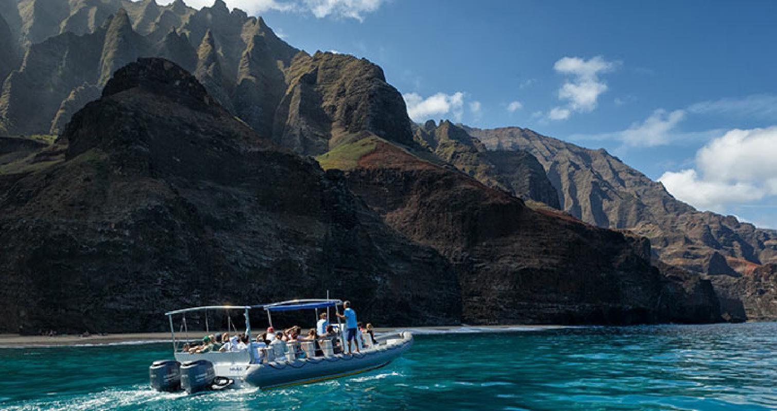 Ocean Rafting Afternoon Summer Adventure at Na Pali Coast (from Hanalei Bay)