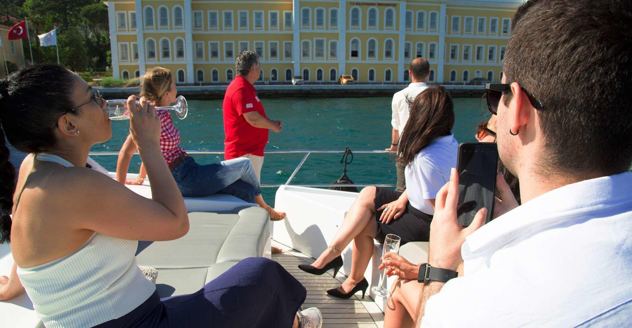 Istanbul Bosphorus Sunset Cruise with Wine on a Luxury Yacht