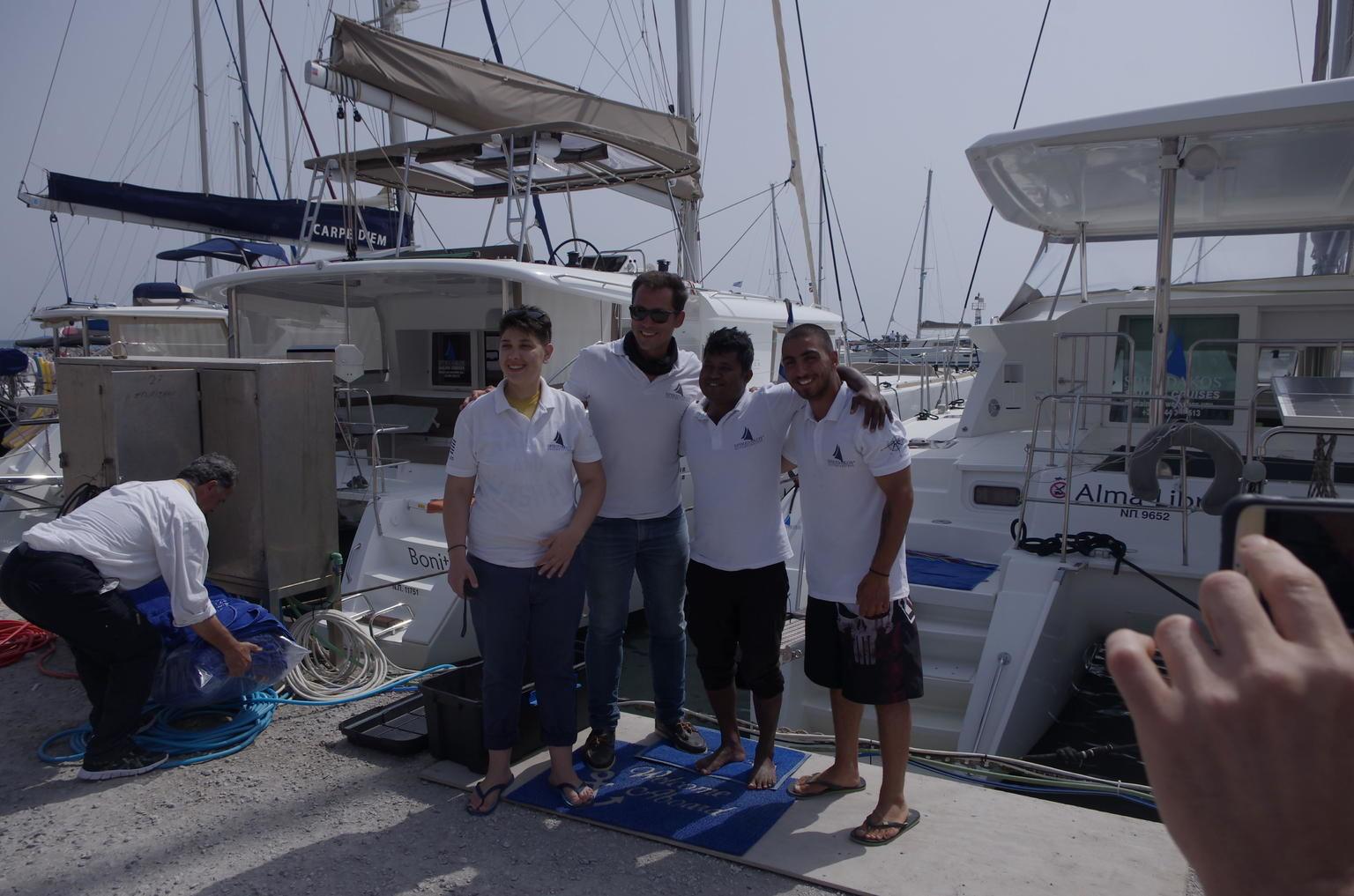 Semi Private Standard   Santorini Catamaran Cruise with Greek buffet and Drinks