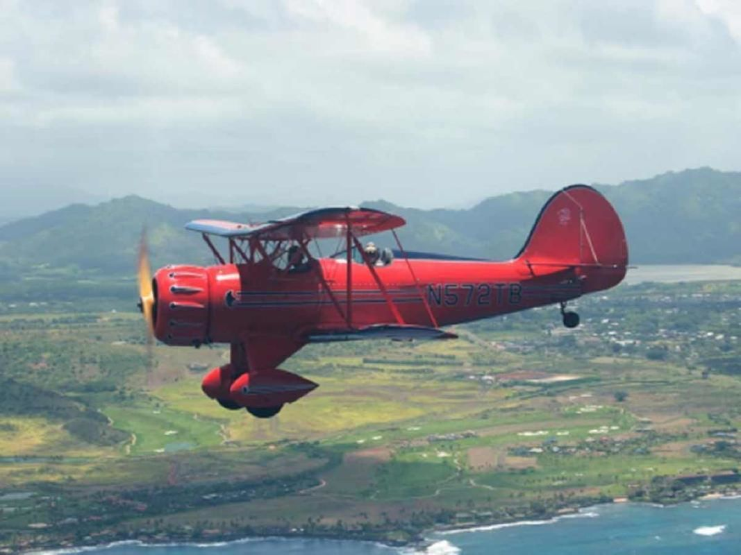 Kauai Circle Island Open-Cockpit Vintage Bi-Plane Private Tour (from Lihue)