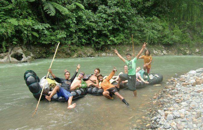 traditional tube rafting in bohorok river