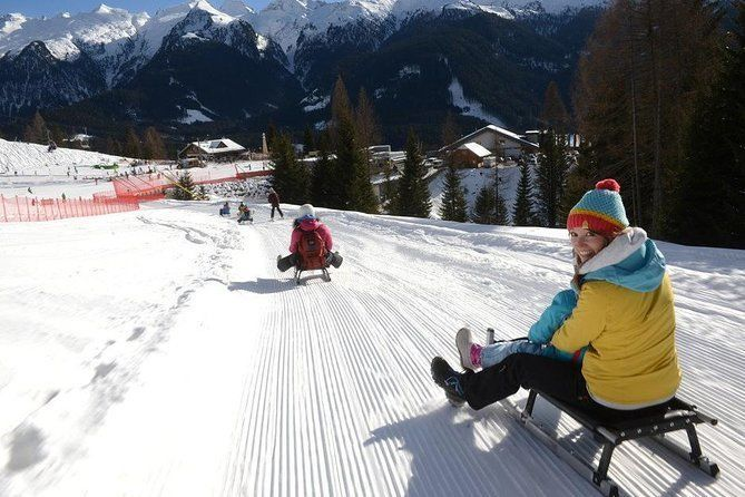 The most famous sledge slope in the Dolomites and a panoramic tour by car