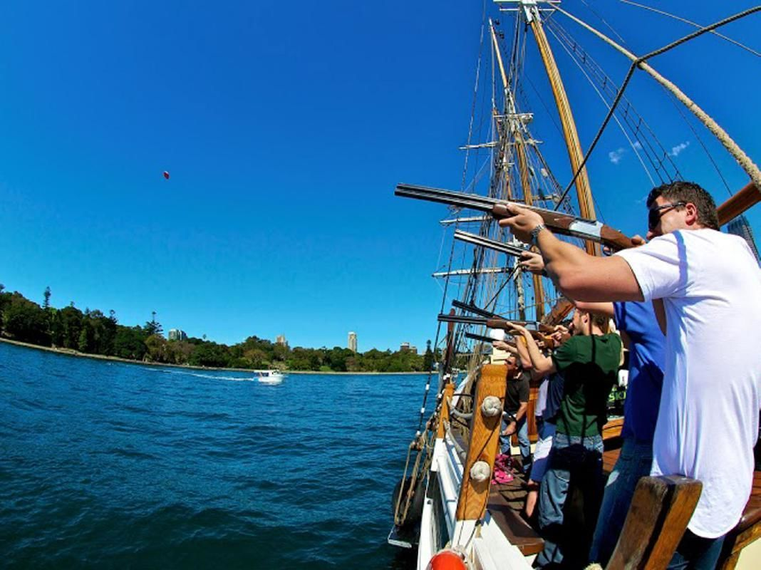 Laser Clay Shooting and Mast Climb Adventure on a Tall Ship from Sydney Harbour